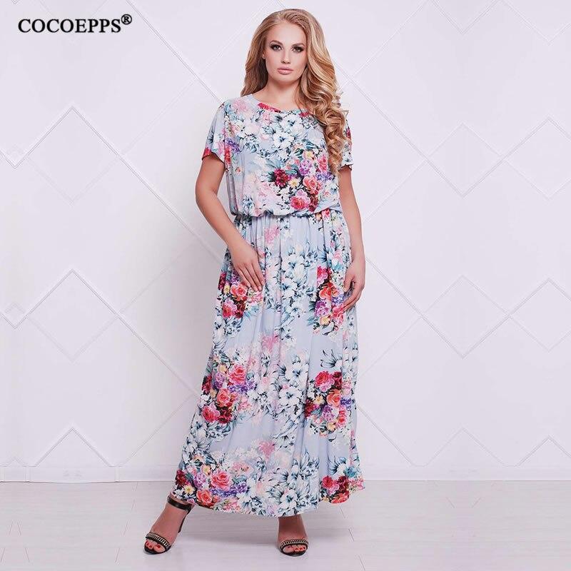 86cf189e6877 5XL 6XL 2019 mulheres vestidos de verão tamanhos grandes do vintage vestido  ocasional impressão Chiffon praia maxi vestido longo plus size feminina  vestido
