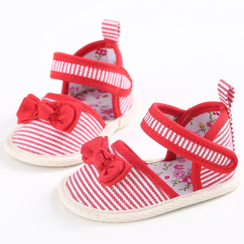 Cute Toddlers Baby Girls Shoes Striped Bowknot Princess Shoes Infant Anti Slip Sandals Prewalkers 0-18M 66
