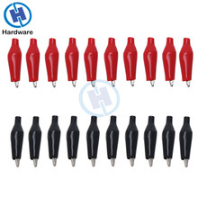 цена на 20Pcs 28MM Metal Alligator Clip Crocodile Electrical Clamp Testing Probe Meter Black Red with Plastic Boot Car Auto Battery