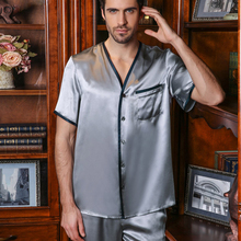Sexy Genuine Silk Mens Pajamas 100% Silkworm Sleepwear Male Simple V-Neck Long-Sleeve Pyjama Pants Two-Piece Sets 16206