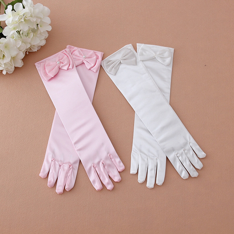 Female Child Flower Girl Child Formal Dress Princess costume Accessories White Pink Lace Bow Gloves