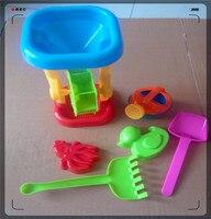 6pcs Set Children Beach Toys Plastic Beach Toys Set Cartoon Toy Car Dug Sand Play Sand