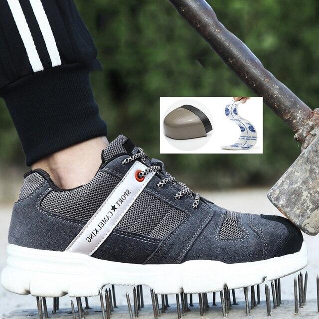 Männer der Arbeit Sicherheits Schuhe Stahl Kappe Kappe Mode Atmungsaktiv Arbeit Schuhe Atmungs Leichte Sommer männer Casual Schuhe-in Sicherheitsschuhe aus Sicherheit und Schutz bei