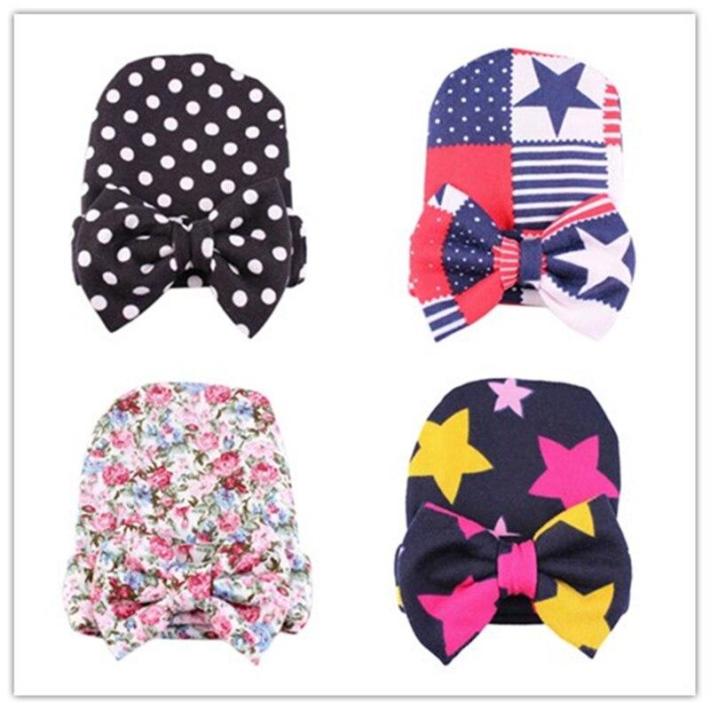 1 Pc Süße Dot Baby Mädchen Hut Mit Bogen Candy Farbe Baby Turban Kappe Für Mädchen Elastische Infant Zubehör Kappe Baby Großen Bogen Kinder