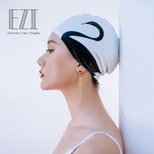 July Sand Silicone high spandex Swimming Caps Women Fashion Design Swan Print Waterproof Hat 20110