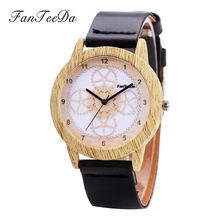 FanTeeDa Brand 2017 Luxury Gold White Wood Watches Watch Women Natural Quartz Movement Famous Alloy Female Wristwatches Clock