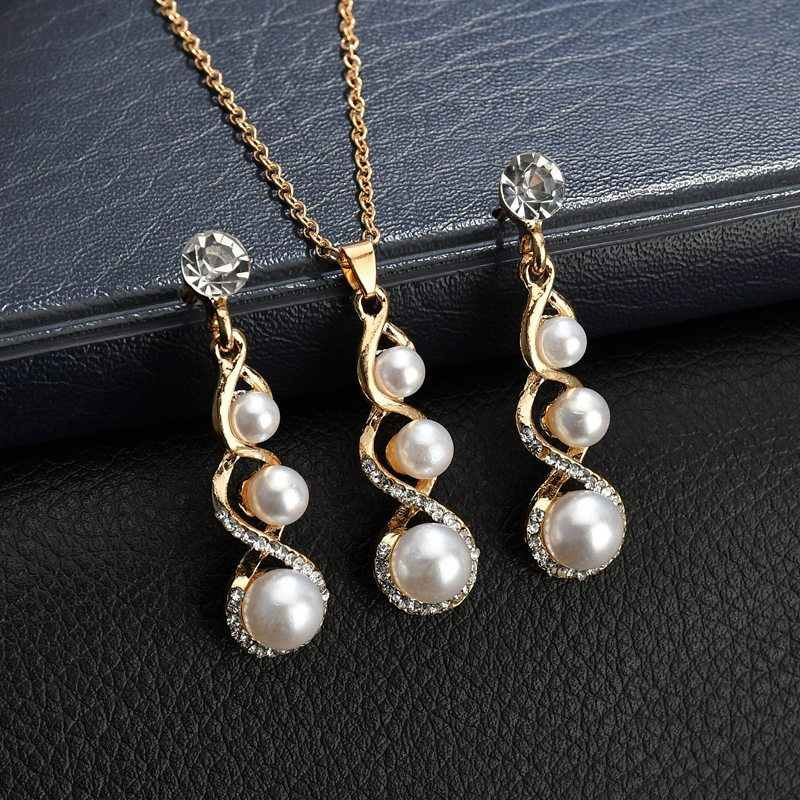 noble gold color chain shining rhinestone 3 pcs Pearl pendant Necklace Earring Jewelry Sets Wedding Jewelry Women