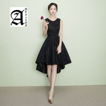 Ameision 2019 New Style Short Front Long Back Prom Party Dress Elegant O-neck Simple Banquet Dresses Black Lace Evening
