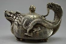 Old Handwork Tibet Silver Carved Dragon Tortoise Teapot w Kangxi Mark
