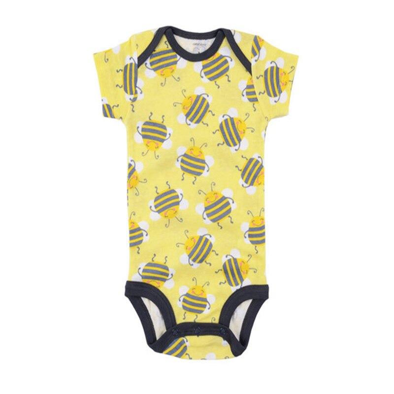 Боди с короткими рукавами для маленьких мальчиков и девочек; комбинезоны с изображением животных; хлопковая одежда для младенцев; 3-48 месяцев; 5 шт./лот