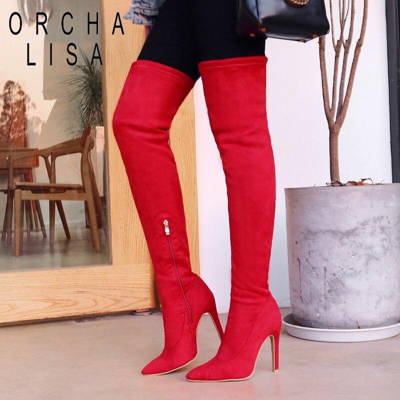 2019 Neuer Stil Orcha Lisa Schuhe Frauen Super High Heel Über Knie Stiefel Frauen Glitter Oberschenkel Hohe Stiefel Spitz Botas Feminino Mujer Überknie-stiefel