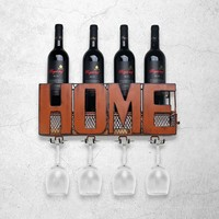 Creative Iron Wall Decoration Wine Bottle Shelf for Bar Living Room Wine rack Wine and Glass holder Home Decor Bar Accessories