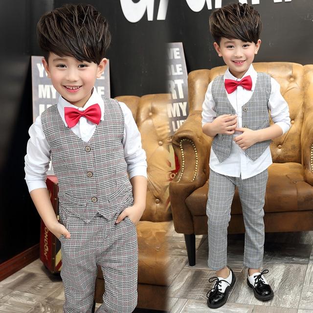 2017 весной и осенью мода классический детский костюм мальчиков 4-11 плед жилет брюки + бантом рубашка три частей наборы