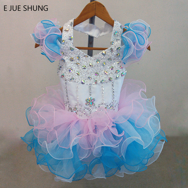 E JUE SHUNG Pink and Blue Organza Mini cupcake   flower     girl     dresses   pageant   Girl     Dresses   infant toddler   dresses