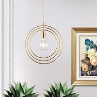 Modern bedroom Lamp Art restaurant chandelier ring brass pendant lamp staircase entrance bar hotel room light