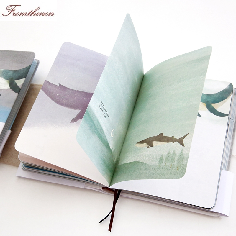 Korean Whale series Color Blank Paper notebooks Diary bullet journals kawaii Planner creative gift Stationery school supplies