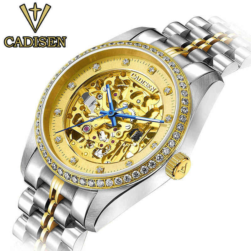 CADISEN Brand Gold and silver Mechanical Watch Men Stainless Steel Wristwatches business Casual Watches The branded watch brand new business watch men hollow engraving black gold case stainless steel watches skeleton mechanical automatic wristwatches