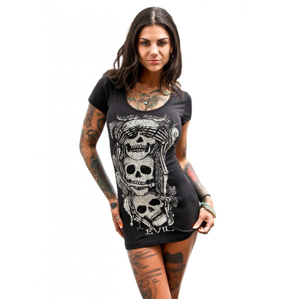 <font><b>Sexy</b></font> nightclub ladies <font><b>dress</b></font> Loose Short Sleeves Skull European skull <font><b>dress</b></font> loose short-sleeved <font><b>dress</b></font> round neck <font><b>mini</b></font> <font><b>dress</b></font> Y523 image