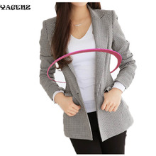 Plus Size S-3XL2017 Office Ladies Suit coat Long Sleeve Outwear Autumn Women Plaid Jackets coat Slim Sexy Coats Americanas Mujer