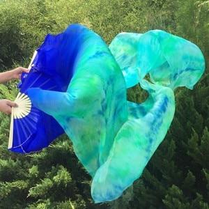 Image 1 - Großhandel gefärbt 100% reine natürliche seide fan schleier für bauchtanz sexy 180cm lange seide fan für tänzer zeigen auf der bühne EIN paar
