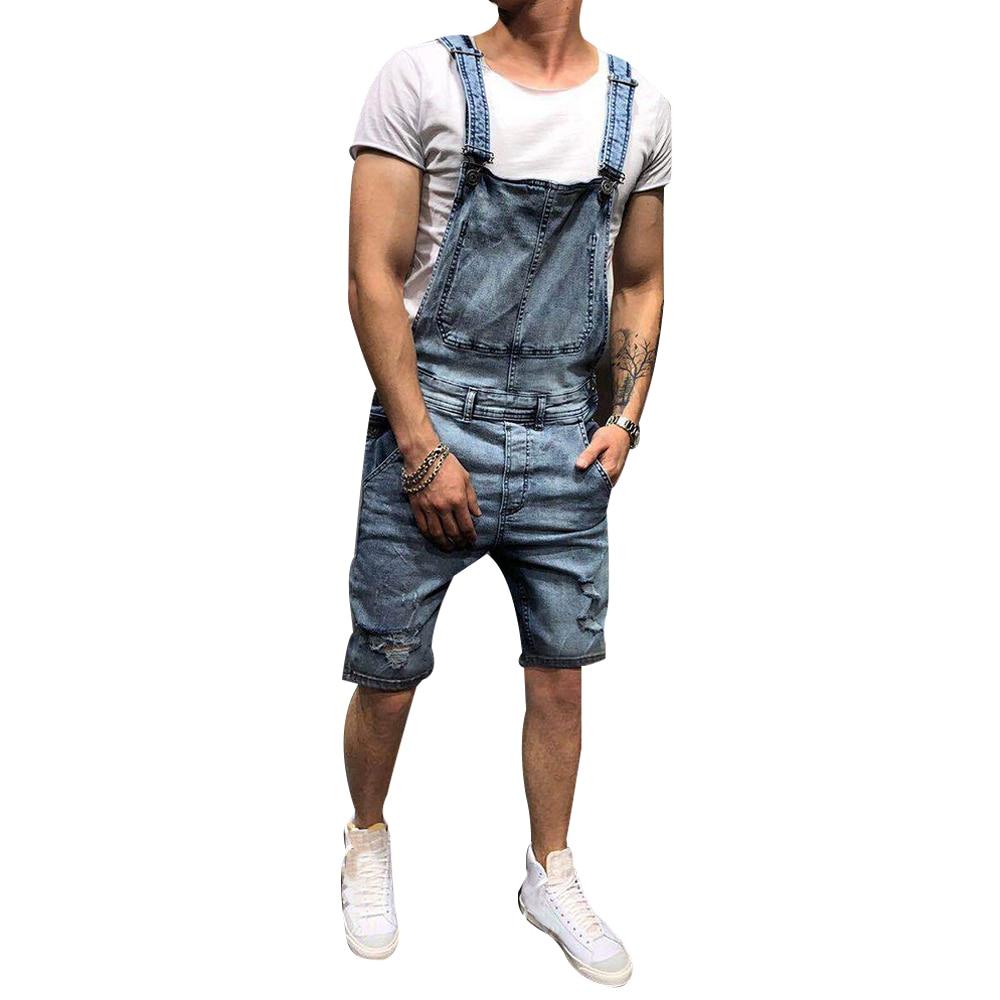 Summer Men's Denim Sling Jumpsuit Men's Knee Length Hole Jeans Solid Men's Casual Jeans Overalls Mid Waist Male's Shorts New D40