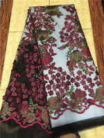 French Lace Fabric Green Lace Fabric Red Black Lace Applique 3d Flower Fabric High Quality For