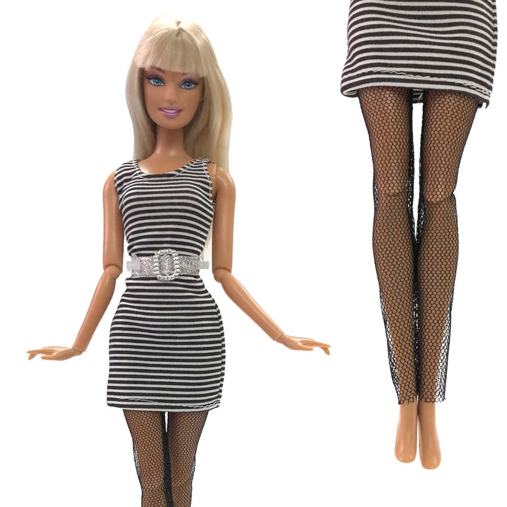 NK One Set Doll Clothes Dress Fashion Skirt Party Gown For Barbie Doll Accessories Baby DIY Toys Sex Stocking Girl Gift 064 DZ