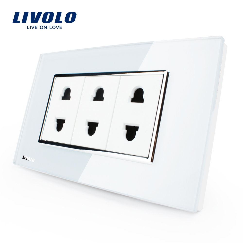 Livolo US-Standard 2 Pins Buchse, Weiß/Schwarz Kristall Glas, 10A, AC 125 ~ 230 v, Wand Powerpoints Ohne Stecker, VL-C3C3A-81/82