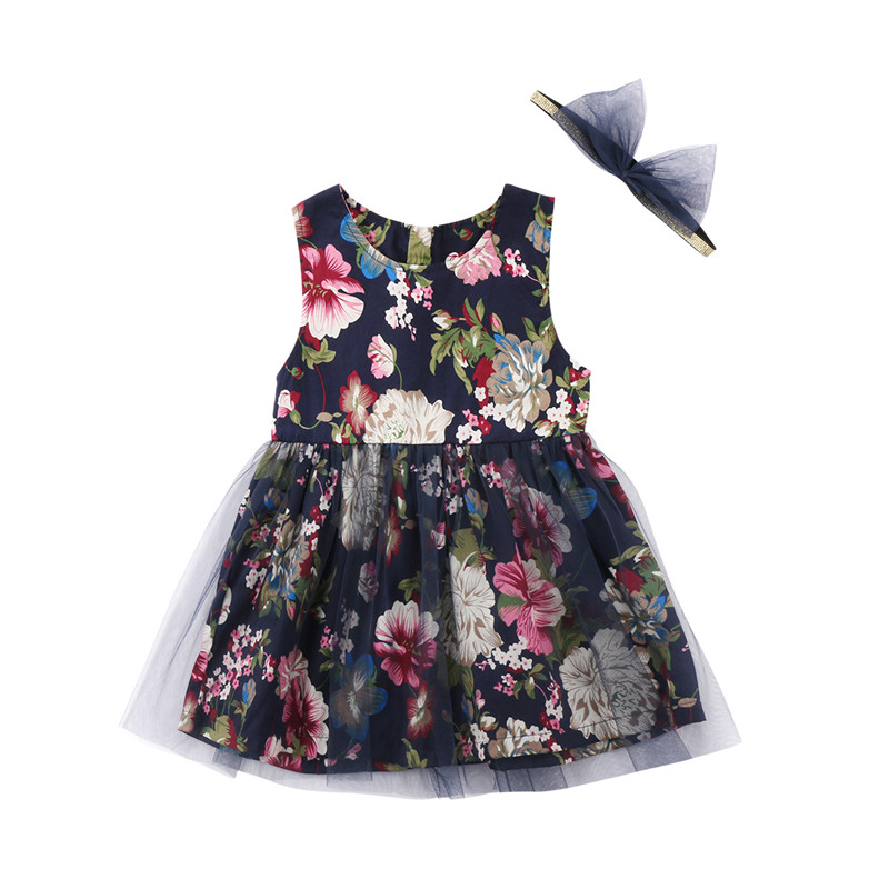 7f7f44150ea Cute Baby Girl Dress 2018 Summer Fashion Baby Girls Floral Printed Dresses+Headband  Party Sleeveless