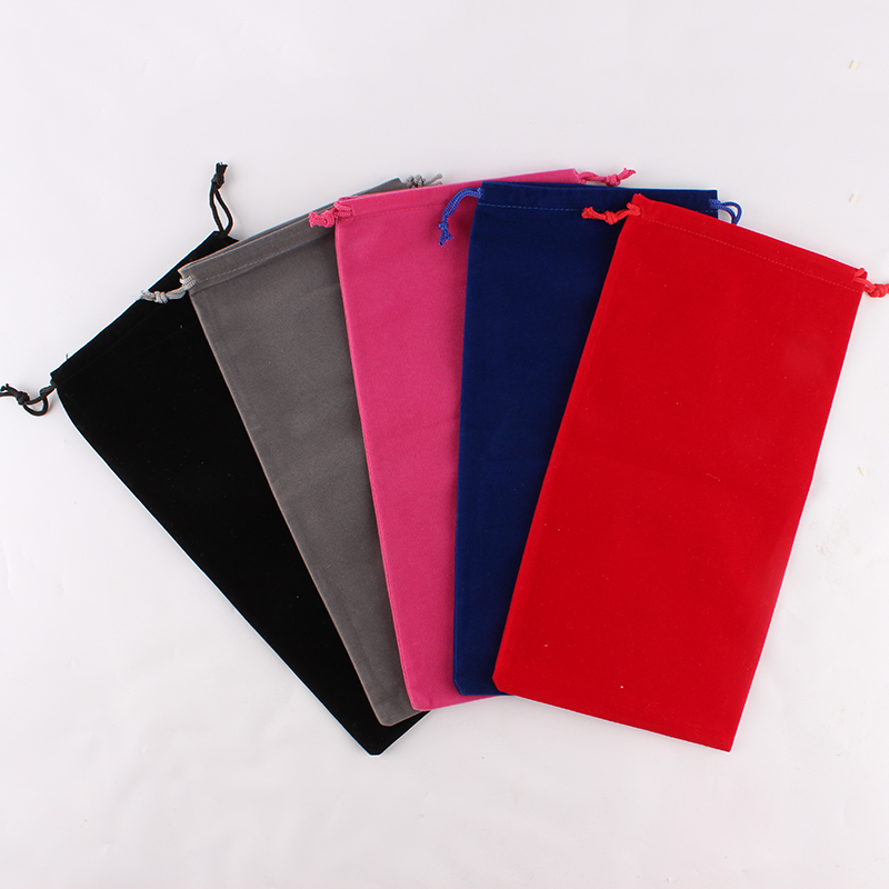 5pcs/Lot 15*30cm Customized Logo Printed Velvet Drawstring Pouch Packing Bags