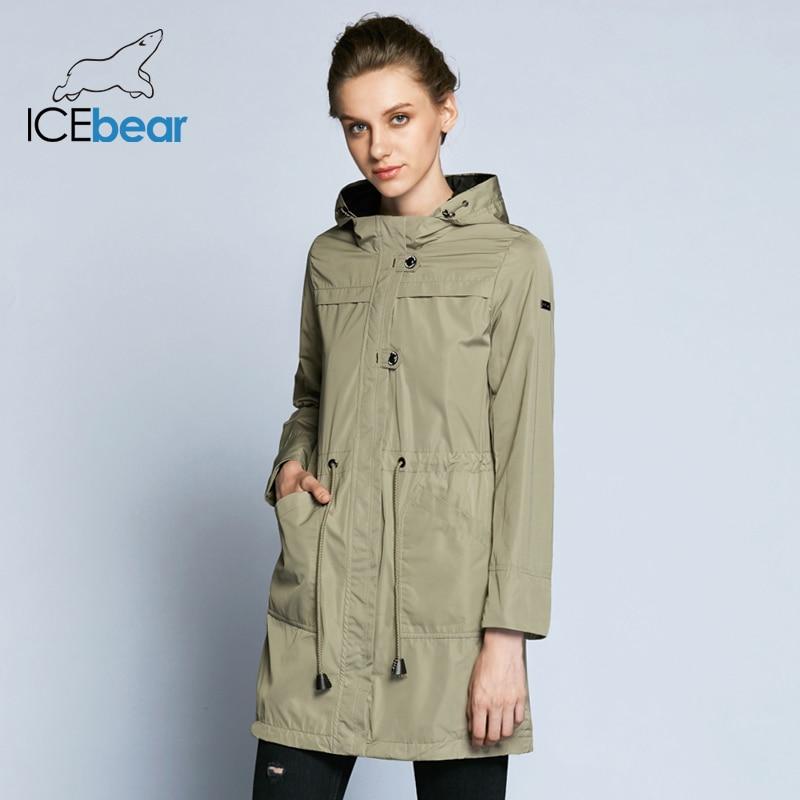 ICEbear 2018 модная женская ветровка новое демисезонное облегающее женское однотонное пальто со съёмным капюшоном B17G123D