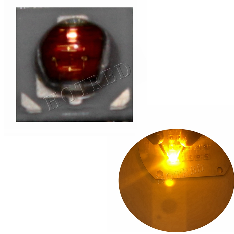 50PCS/lot 1W 3W 3535 SMD High Power Amber Yellow LED Diode Chip Light Emitter Yellow 590NM To 595NM Instead Of CREE XPE XP-E Led