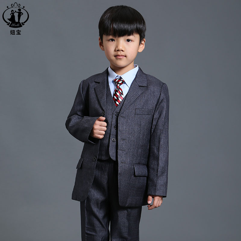 Gray suit for boy Single Breasted Flat Prom Clothes For Wedding Toddler Boy Blazer boys suits for weddings jogging garcon single breasted lapel flap pocket business blazer