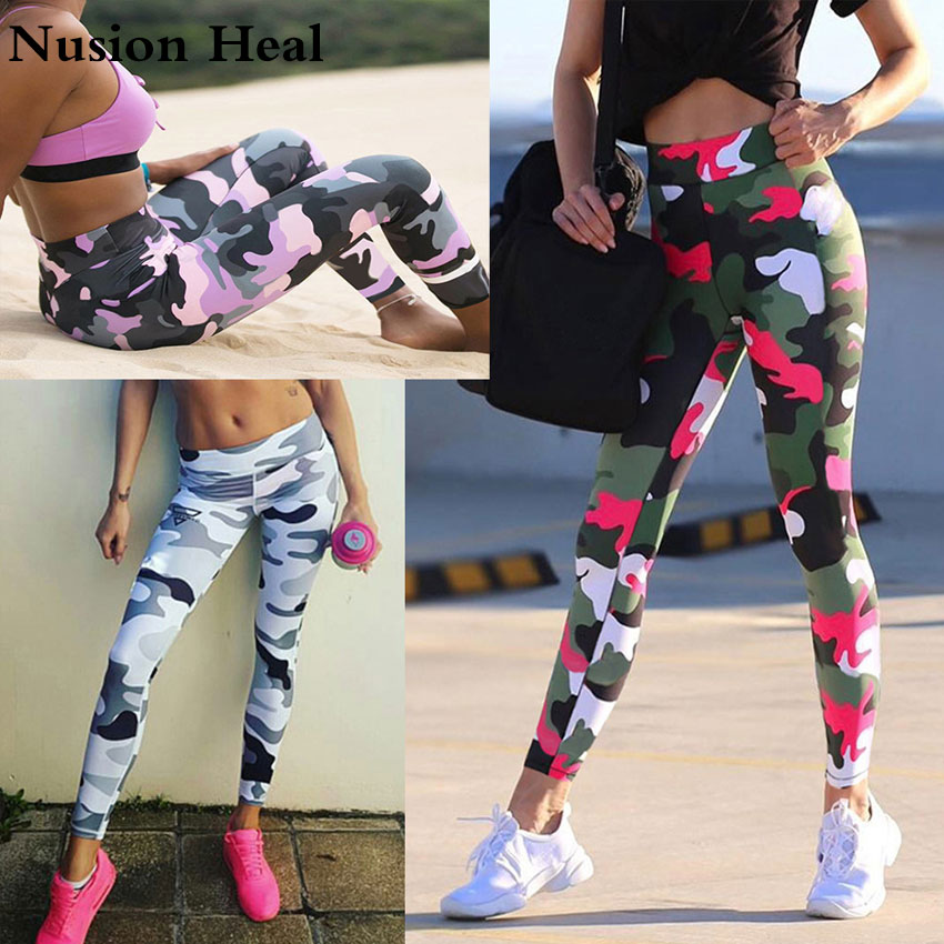 цена 2018 Women Camo Yoga Pants Women Yoga Leggings Camouflage High Waist Running Tights Women High Quality Fitness Sport Leggings