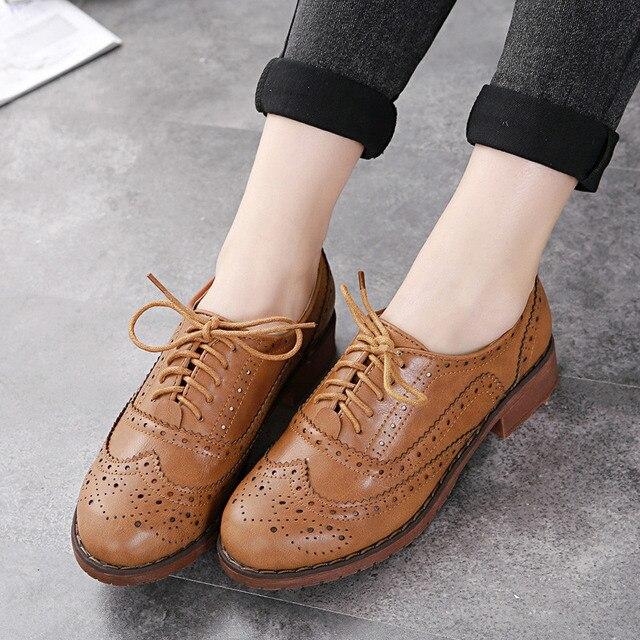 7446c55ecf78 € 25.5  Primavera verano 2016 Classic plana bajo Lace Up mujeres Zapatos  Oxford para mujeres italiano europeo Lumineuse Zapatos de Mujer en Zapatos  ...