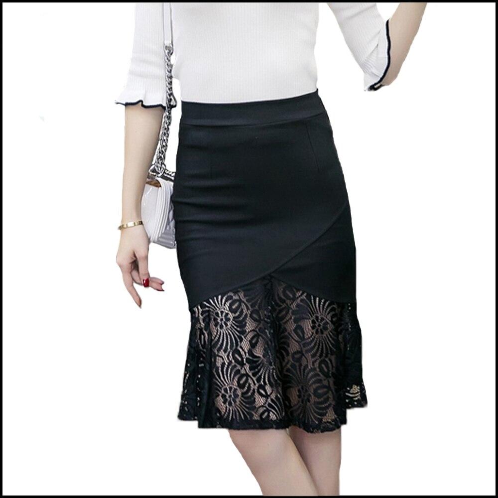 2018 alta cintura lápiz falda más tamaño sexy Encaje Faldas para las mujeres  nueva moda elegante ruffle negro rojo bodycon mujeres falda S 5XL en Faldas  de ... 4b5d6cfadeff