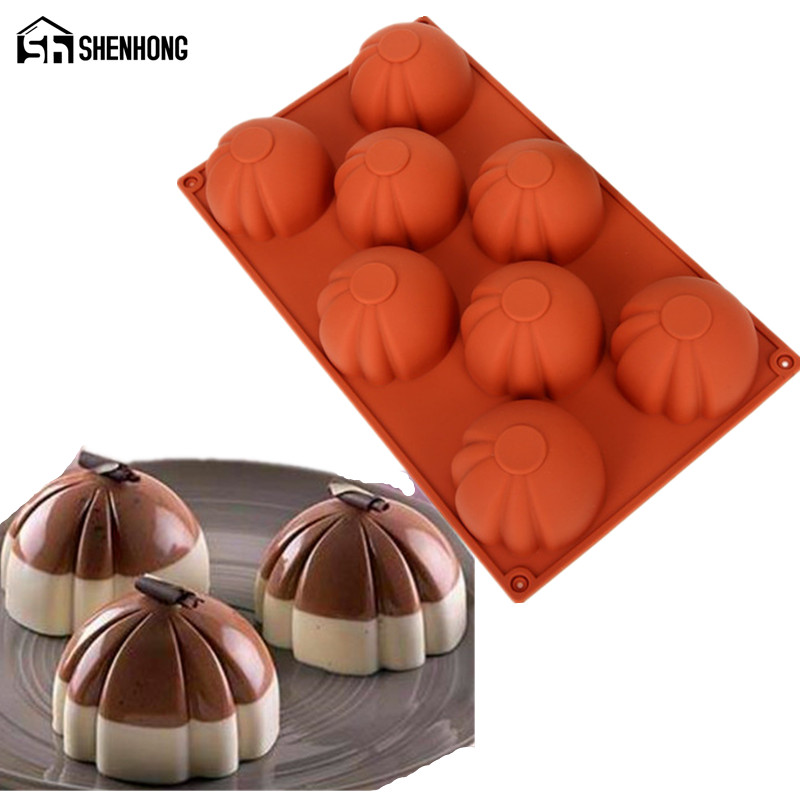 SHENHONG Special Silicone Mold 8 Holes 3D Cake Moulds Geometric Square For Ice Creams Chocolates Pastry Art Pan Bakeware
