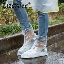 Lizeruee Womens Rain Shoes Cover Waterproof Flat Ankle Boots Heels Covers Thicker Non-slip CS165