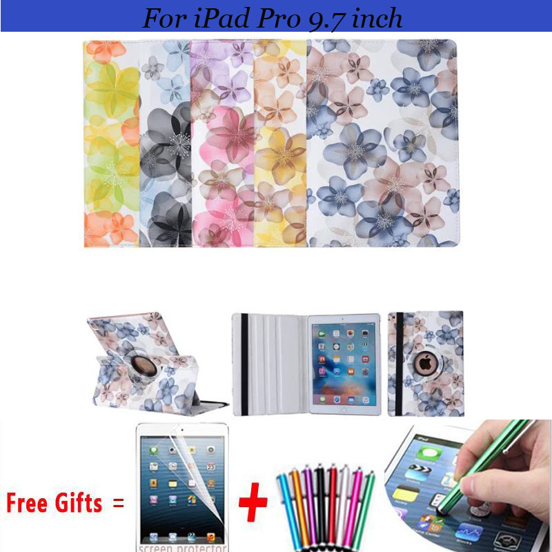 Fashion Floral Cover for iPad Pro 9.7 Case 360 rotating Case for iPad Pro 9.7 Cover Smart Cover for iPad Pro Case 9.7