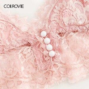 Image 3 - COLROVIE Rosa Scalloped Floral Spitze Dessous Set Frauen Pyjama Set 2019 Burgund Bralettes Und Slips Nachtwäsche Sexy Nachthemd
