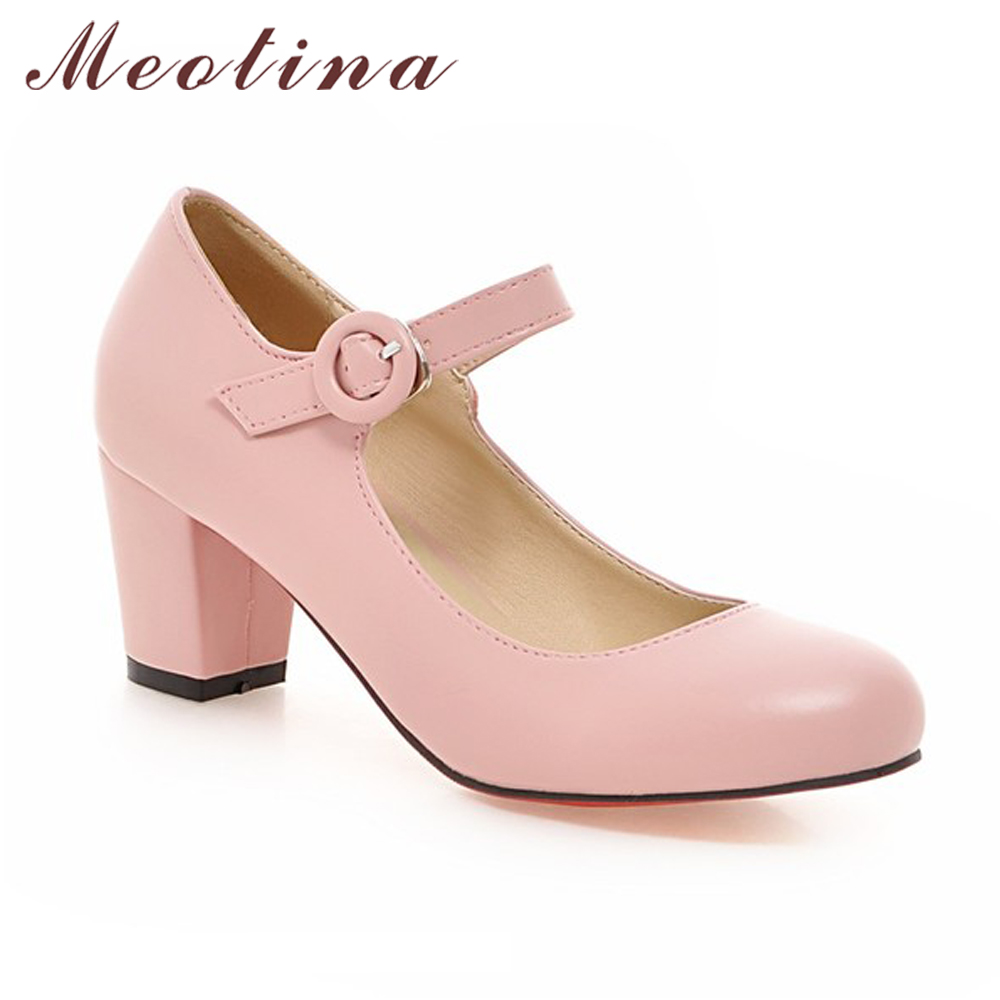 Meotina Women Shoes Mary Jane Ladies High Heels White Wedding Shoes Spring Thick Heel Pumps Shoes Black Pink Plus Size 43 9 10 1