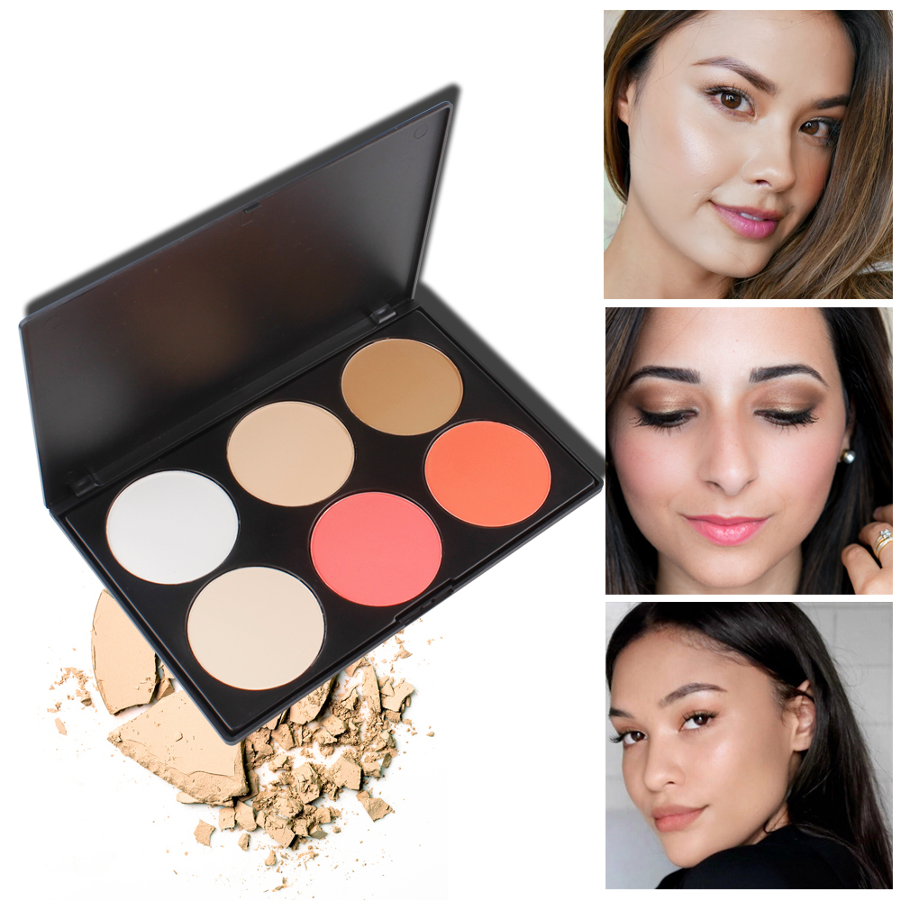 VVHUDA Pressed Powder Pro 6 Color Studio Matte Finish Contour Blush Palette Face Natural Smooth Nude Makeup Setting Oil-control