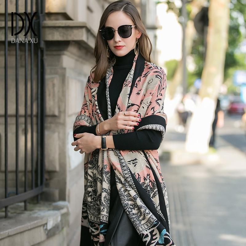 2019 Women Winter Cashmere Pashmina Shawls Fashion Boho Style Plaid Thick Warm Blanket Poncho Feminino Inverno