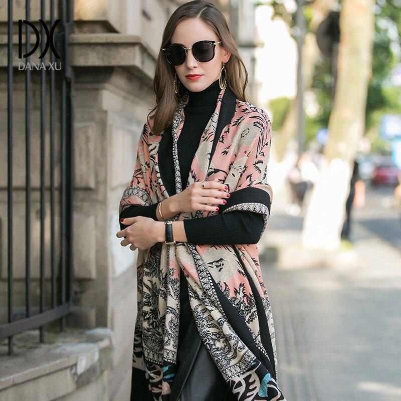 2017 Women Winter Cashmere Pashmina Shawls Fashion Boho Style Plaid Thick Warm Blanket Poncho Feminino Inverno Scarves Stoles