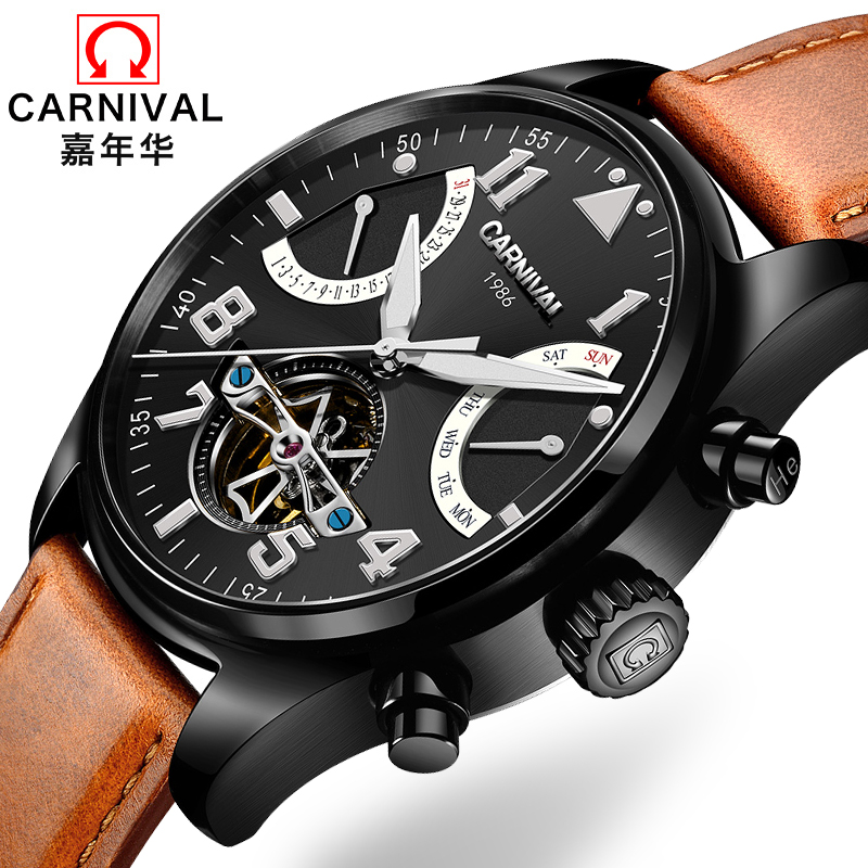 Switzerland Carnival Brand Luxury Mens Watches Multi-function Watch Men Sapphire reloj hombre Luminous relogio Clock C8783-18 wrist switzerland automatic mechanical men watch waterproof mens watches top brand luxury sapphire military reloj hombre b6036