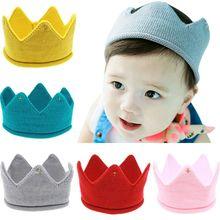 New 1Pcs Unique Nice Design Kids Hat Girls Boy Winter Warm Childrens Lovely Soft Cute Woolen Yarn Crown Knit Cap