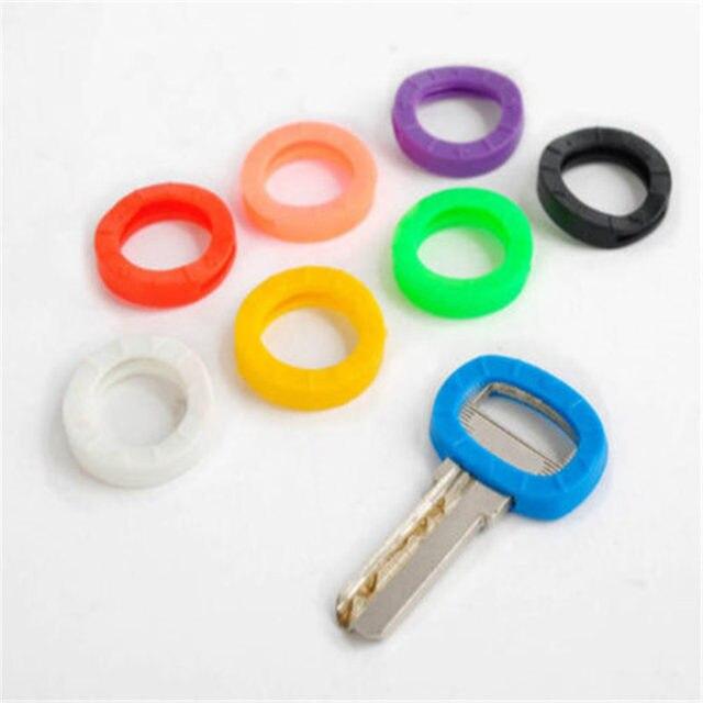 8pcs/lot Hollow Multi Color Rubber Soft Key Locks Keys Cap Key Covers Topper Key ring Mixed color 2017 hot selling