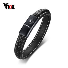 Black Genuine Leather Bracelet for Men Engraving Name Custom engraved Logo Masonic Anchor Bestfriend Gift
