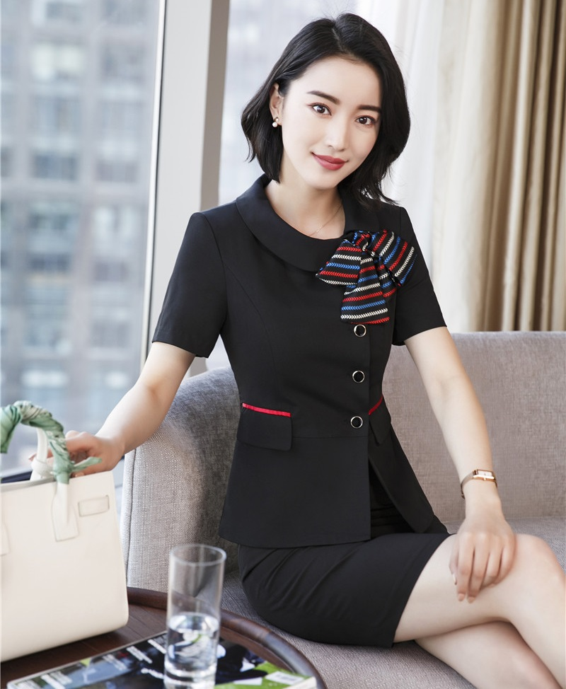 New Style Summer Black Blazer Women Business Suits With Skirt And Jacket Sets Office Ladies Work Wear Uniforms (Scarf Included)