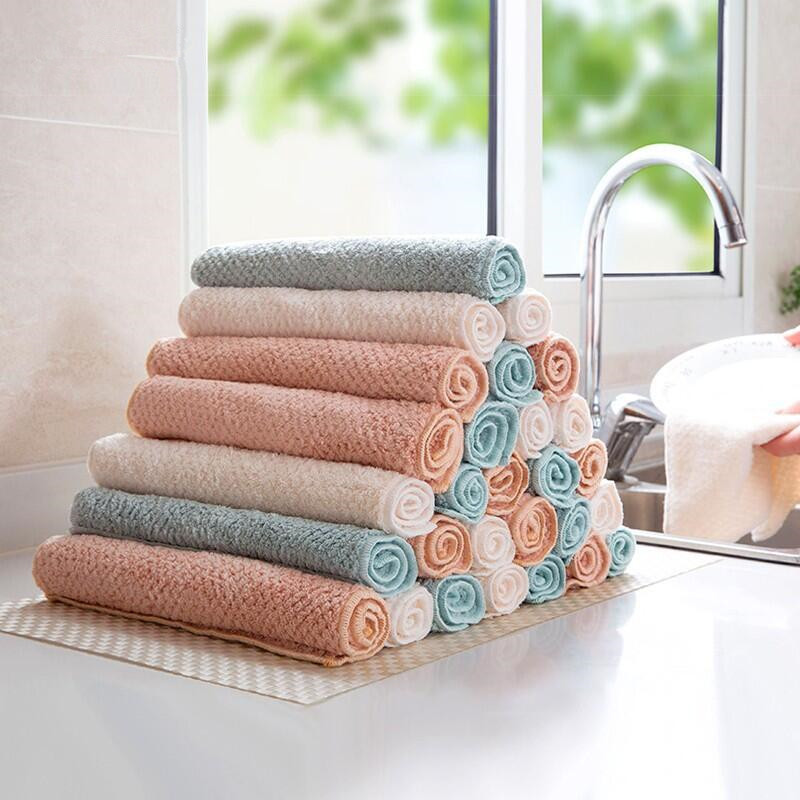 1PC 3PCS Household Microfiber Kitchen Towel Micro Fiber Towel Thickening Double Wash Towels Water Absorbent Hand Cleaning Cloth in Cleaning Cloths from Home Garden